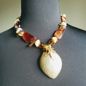 Chico's Gold & Brown Necklace